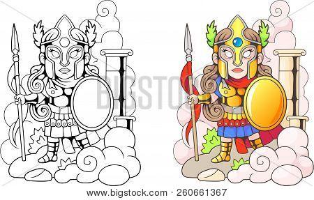 Cartoon, Ancient Greek Goddess Athena, Funny Illustration, Coloring Book