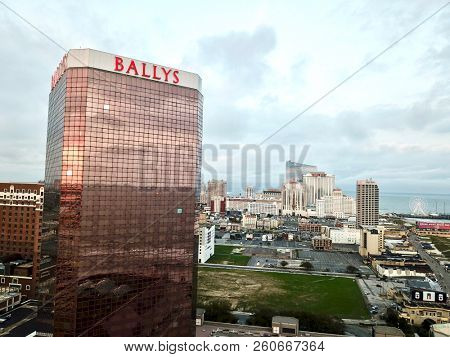 Atlantic City N.J/USA/Sept. 22, 2018: Aerial view of Ballys Hotel and Casino in Atlantic City N.J. The summer of 2018 has been a very strong positive  revenue winner for all of Atlantic city casino's.