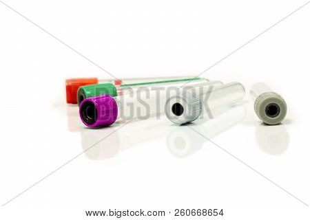 Colorful Blood Tubes For Keep And Safe Blood Collection To Checkup Glucose And All Virus On White Ba