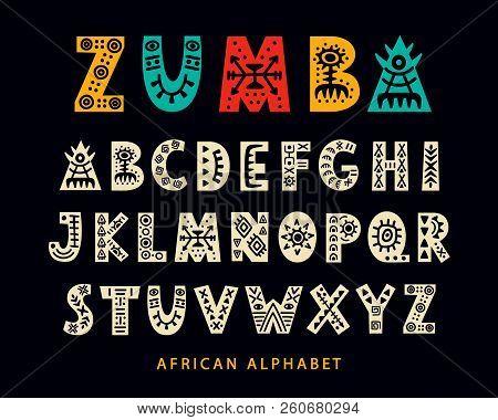 Vector Hand Drawn African Tribal Font. Folk Scandinavian Script. English Ethnic Alphabet. Decorative