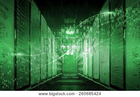 Binary Code Particles And Neon Glowing Cyber Wave. In Modern Server Room Big Data Structure. Interne