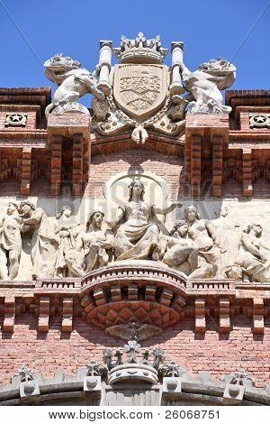 Fragment of triumphal arch in Barcelona poster