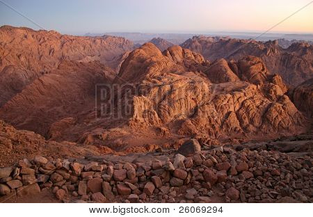 Mount Sinai in early morning - also known as Jebel Musa (2285 m) on Sinai Peninsula, Egypt