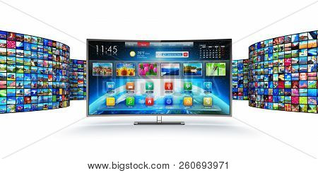 3d Render Illustration Of Modern Curved Smart Television Screen Display Monitor With Endless Walls O