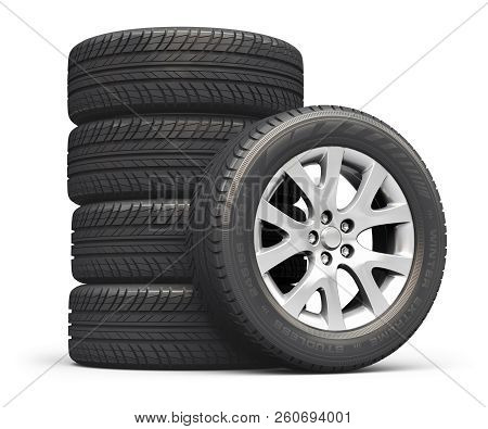3d Render Illustration Of The Set Of Car Wheels With Tyres Or Tires Isolated On White Background