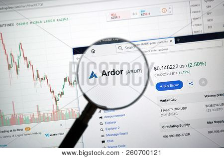 Montreal, Canada - September 8, 2018: Ardor Altcoin Site Under Magnifying Glass. Blockchain Is A Gro