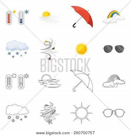 Vector Illustration Of Weather And Climate Icon. Collection Of Weather And Cloud Stock Vector Illust