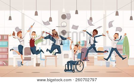 Happy Office Workers Jumping Up. Office Fun. People Work In Office. Happy Workers In Workplace. Corp