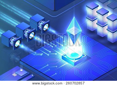 Smart Ethereum Mining. Cryptocurrency And Blockchain Concept. Data Transmission And Processing, Digi