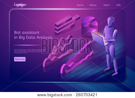 Bot Assistant In Big Data Analysis Concept. Data Search Robot. Bot Virtual Assistance. Digital Techn
