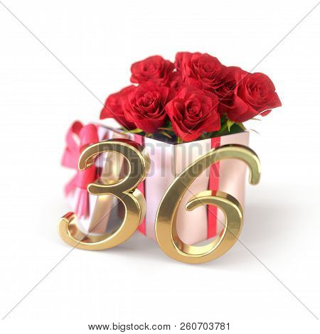 Birthday Concept With Red Roses In Gift Isolated On White Background. Thirty-sixth. 36th. 3d Render