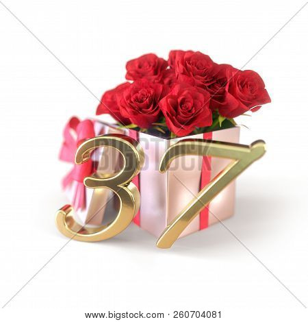 Birthday Concept With Red Roses In Gift Isolated On White Background. Thirty-seventh. 37th. 3d Rende