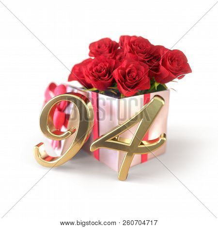 Birthday Concept With Red Roses In Gift Isolated On White Background. Ninety-fourth. 94th. 3d Render