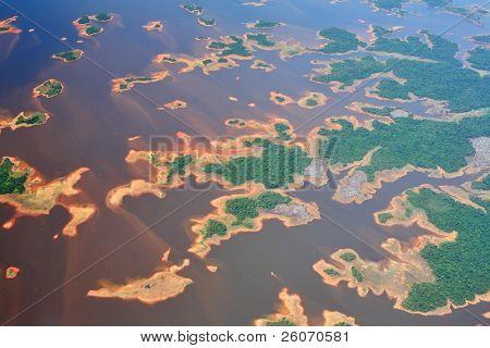 Aerial view on Orinoco river in Venezuela