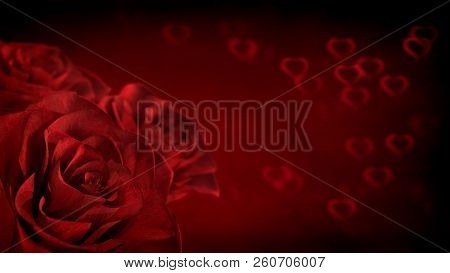 Red Roses With Heart Shapes On Background. 3d Render
