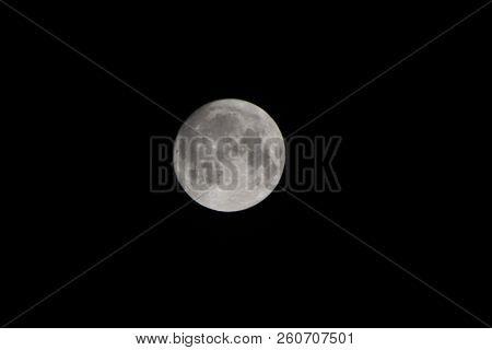 Full Super Moon Over Dark Black Sky At Night Taken. Full Moon Background. Phase Of The Moon, Full Mo