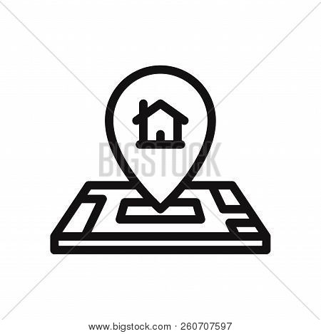 Home Location On Map Icon Isolated On White Background. Home Location On Map Icon In Trendy Design S