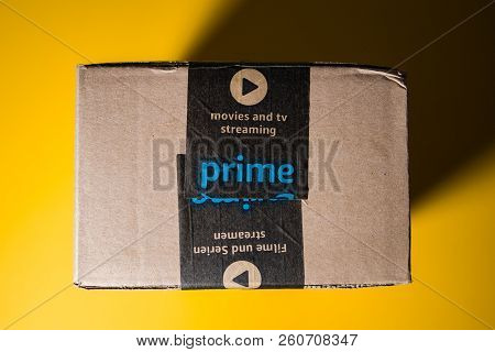 Paris, France - Sep 28, 2018: Directly Above View Of New Amazon Cardboard Box Against Yellow Backgro