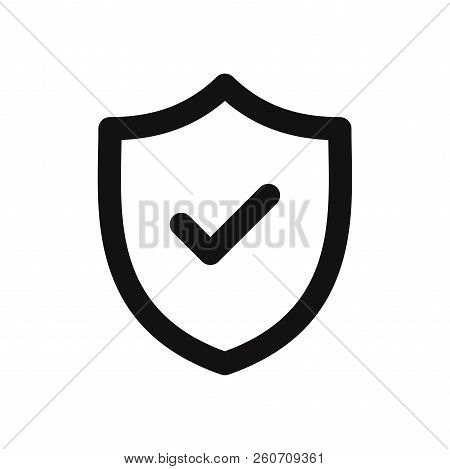 Shield With Check Mark Icon Isolated On White Background. Shield With Check Mark Icon In Trendy Desi