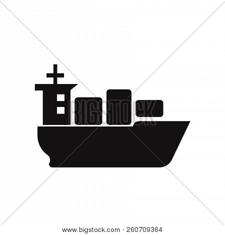 Sea Ship With Containers Icon Isolated On White Background. Sea Ship With Containers Icon In Trendy