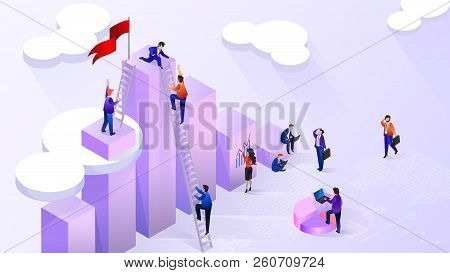 Working With Financial Statistics, Using Big Data Analysis Isometric Vector Concept With Business Pe