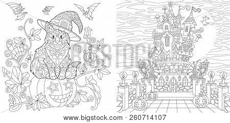 Halloween. Coloring Pages. Coloring Book For Adults. Colouring Pictures With Cat On Pumpkin And Horr
