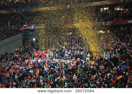 JOHANNESBURG - JULY 11 : Final at Soccer City Stadium: Spain vs. Netherlands on July 11, 2010 in Johannesburg. Spanish team is awarded the World Cup