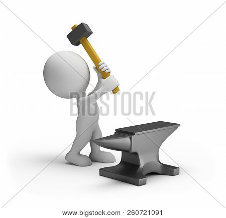 3d Person Hitting A Sledgehammer On An Anvil. 3d Image. White Background.