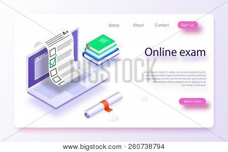 Online Exam Computer Web App. Isometric Laptop With Paper Document Printing From Screen. Isometric V