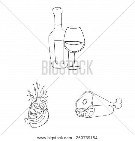 Vector Illustration Of Food And Drink Sign. Set Of Food And Store Stock Vector Illustration.