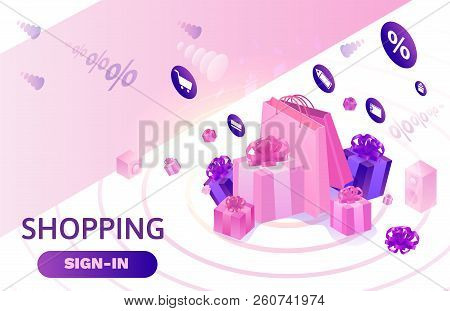 Isometric Sale Design, Online Offer Concept For Ecommerce Discount Campaign, Cyber Monday Or Black F