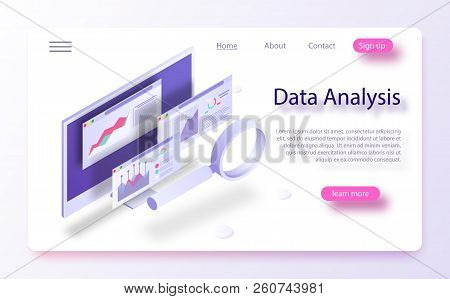 Data Analytics Concept Banner. Modern Flat Design Isometric Concept Of Data Analysis For Website And