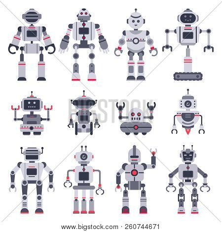 Flat Robots. Electronic Robot Toys, Cute Chat Bot Mascot And Robotic Toy Characters Vector Illustrat