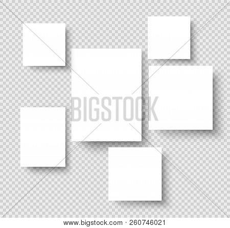 Blank Hanging Photo Frames. Picture Gallery Paper Rectangular Borders. Photos On Wall Vector Mockup