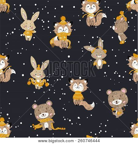 Seamless Vector Pattern With Cute Bunny, Foxes And Bear In Scarf And Hat. Can Be Used For Wallpaper,