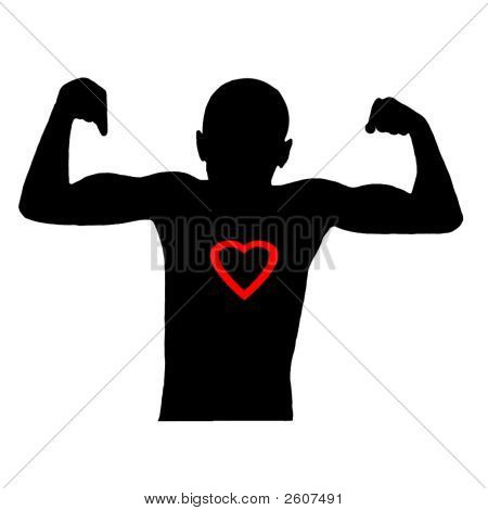 Showing Muscles Silhouette On White.