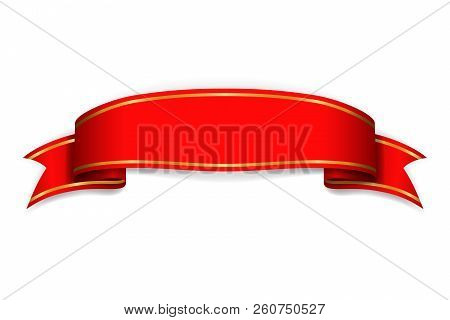 Red Ribbon Banner. Satin Blank. Design Label Scroll Ribbon Bow Blank Element Isolated On White Backg