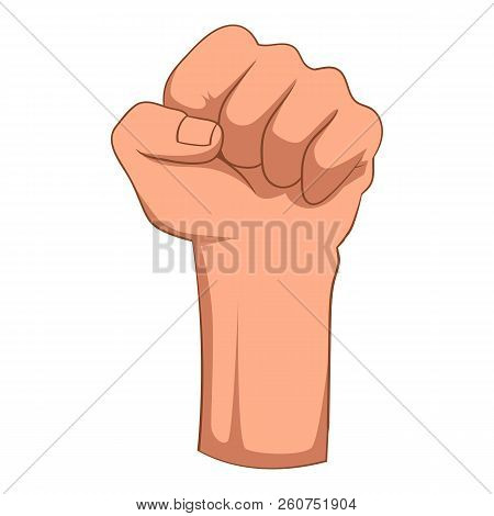 Raised Up Clenched Male Fist Icon. Cartoon Illustration Of Raised Up Clenched Male Fist Icon For Web