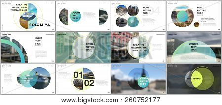 Minimal Presentations Design, Portfolio Vector Templates With Circle Elements On White Background. M