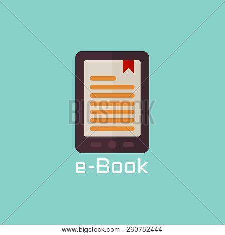 E Book Reader Vector Flat Icon Or Design Object