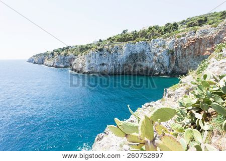 Apulia, Grotta Zinzulusa, Italy - At The Coastline Of The Famous Grotto Of Zinzulusa