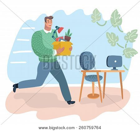 Vector Cartoon Illustration Of Successful Smiling Young Man Going To The New Job With Box. Man Hurri