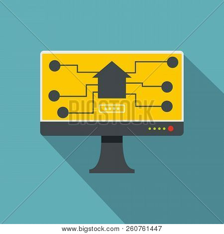 Monitor Chip Icon. Flat Illustration Of Monitor Chip Icon For Web