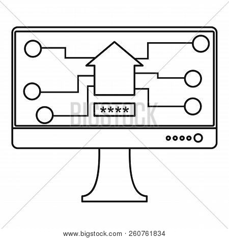 Monitor Chip Icon. Outline Illustration Of Monitor Chip Icon For Web