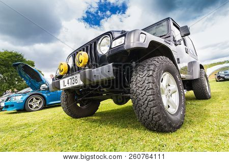 Tain, Scotland - June 17 2018: Jeep Wrangler At A Vintage Car Rally