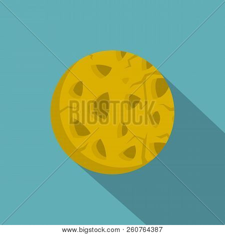Rocky Planet Icon. Flat Illustration Of Rocky Planet Icon For Web