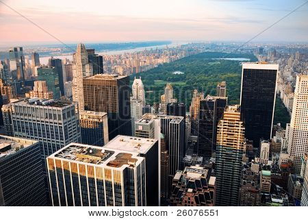 Central park, new york city skyline aerial view poster