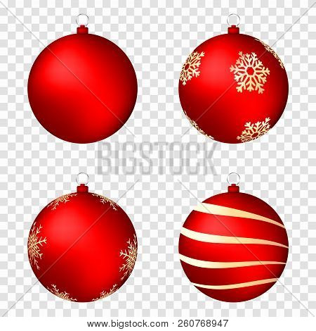 Realistic Christmas Balls Isolated On Transparent Background. Glossy Red Christmas Balls With Golden