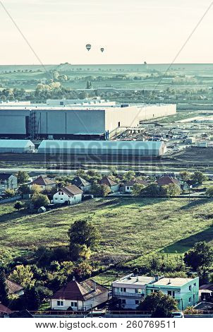 Automotive Production Hall In The Industrial Park, Drazovce, Nitra, Slovak Republic. Hot Air Balloon