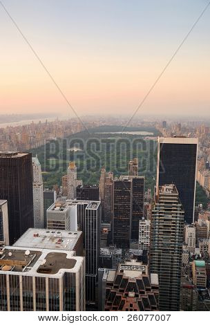 New York City Central Park aerial view panorama with Manhattan skyline and skyscrapers at dusk
